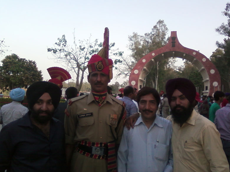 With a BSF jawan at the border.