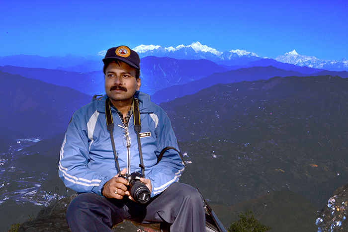 Author on Ramitey top (photo by Arnab Mukherjee).