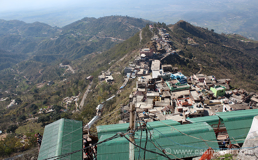 Pic taken from Naina Devi Mandir ie on top of the hill. Houses that you see are of locals. U see cars parked - devotees get off and then walk up stairs from there. Far end on right of pic is Anandpur where Khalsa was born. Naina Devi is one of the 51 Shaktipeeths where limbs of Sati fell on Earth.