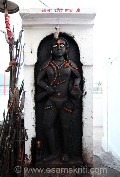 Image of Baba Bhairavji ie placed in front of the Trishul of Shivji. Captions taken from JKDharmarth Trust site, dhanyavad. Near Udhmapur mssed seeing Krimchi temple complex. 11-12th century temples.
