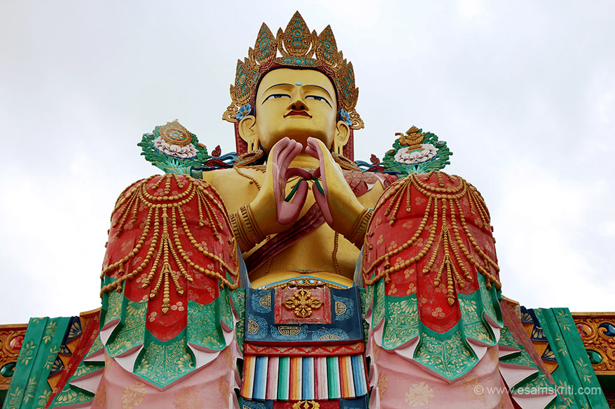 Close up of Buddha in Dharma Chakra Mudra pose. This statue was made in 1996.