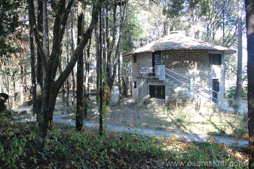 Today it has 8 cottages one of which you see. Most of them have two levels.  Cottages are amidst lots of trees. From here you can visit Jageshwar Jyotirling (app 2.5 hours) and Golu 