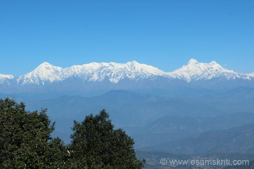 An early morning 9.30ish view of the Himalayan Peaks left to right Trishul, Nanda devi and Nanda kot. Nanda Ghunti, Panchachuli and Nepal peaks not in pic. It is at a height of 2420m