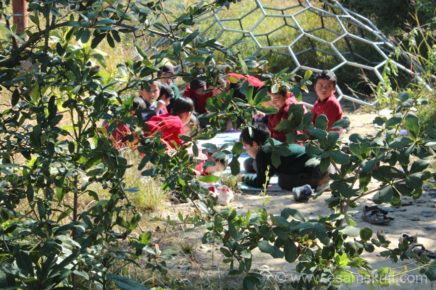 Students are also taught in the open. School has a rule that students cannot be photographed whilst studying. Wanted to take a pic so clicked these students, who were studying in the