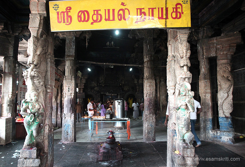 Pillars have Yalis - end is sanctum. In Tamil is name of deity Sri Thayal Nayagi.