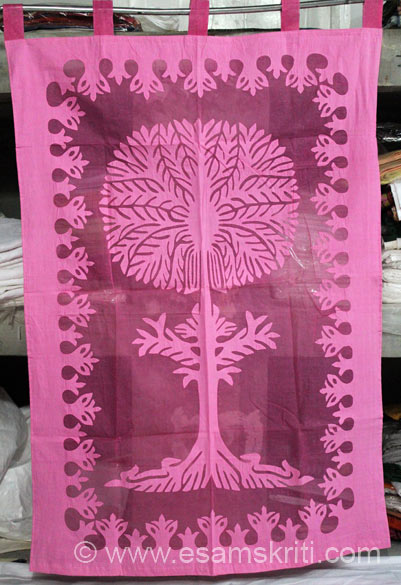 This is end product of what you saw in the previous pic. The final Tree of Life curtain is size 42 by 84 cost Rs 1,550/.