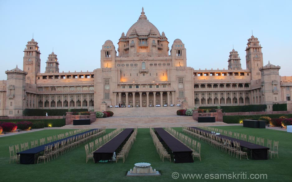 This is view of the palace from the west side (about 6pm ish). The palace is a well known venue for marriages. The chairs that you see were for a wedding that was to be held the next day. Umaid Bhawan Palace was named after Air Commander His Highness Raj Rajeshwar Saramad Raja-E-Hind Maharajadhiraj Shri Sir Umaid Singhji Saib Bahadur. G.C.S.I., K.C.V.O., A.D.C., LL.D. who ruled Jodhpur from 1918-1947