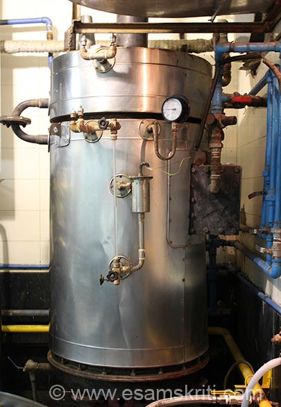 In this collection of pics we show you operations of Tardeo kitchen and visit to Rice Cleaning Plant. U see a Boiler ie used to generate Steam. Process is water supplied by Muncipality first gets purified by a water softner after which it enters the boiler that you see. From here the steam goes to cooking vessels.