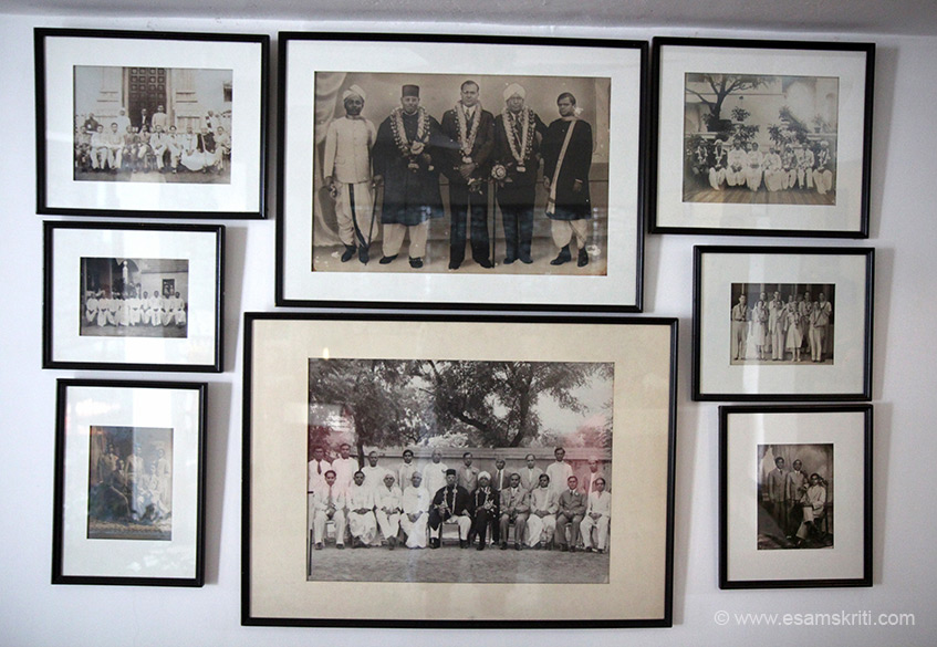 Photos of the ancestors of owners on lobby wall. From discussions with staff got to know that Chettiars came here from Kanchipuram only about 200 years ago. Till private banks were nationalised they travelled for trade to S.E. Asian countries with Chettinad as base. Thereafter, many moved to cities. Much of their profits went into building these grand residences, which used to be called natukottai or regional fort.""