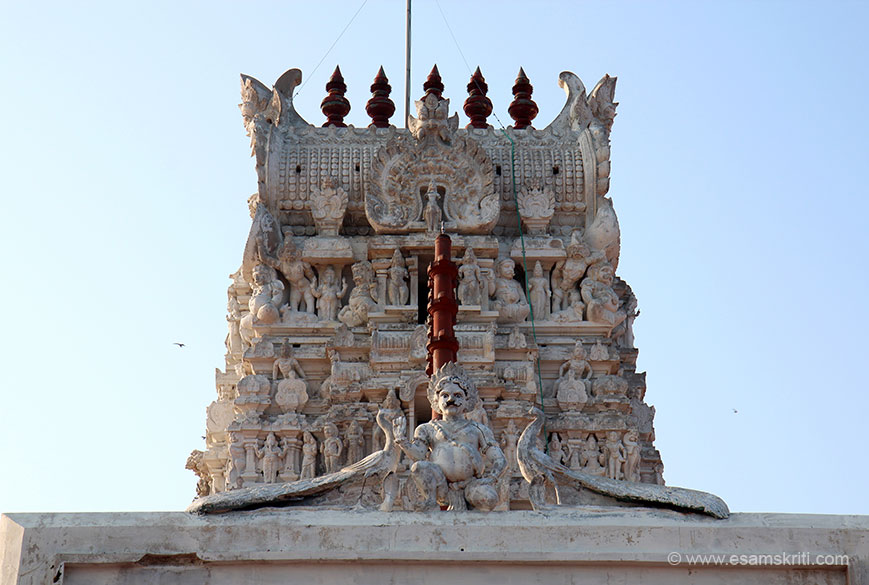 "This is the small gopuram on sea side. Centre image is flanked by peacocks on both sides. According to local tradition Dutch soldiers took away the deity idol in 1653. Their ship was rocked because the sea had become boisterous. They threw the idol in the sea. It was retrieved. To read more <a href=""http://www.tiruchendurmurugantemple.tnhrce.in/historical_event.html