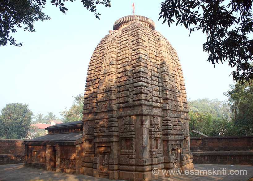 Rear side view of temple. It is a 2 minute walk from Mukteswara Mandir. Spire is 13 m high, jagamohana is rectangular with a flat roofed hall. The outer walls have sculptures from the
