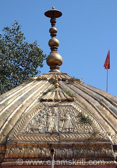 Close up of dome - has image of Shri Krishna and Radha.