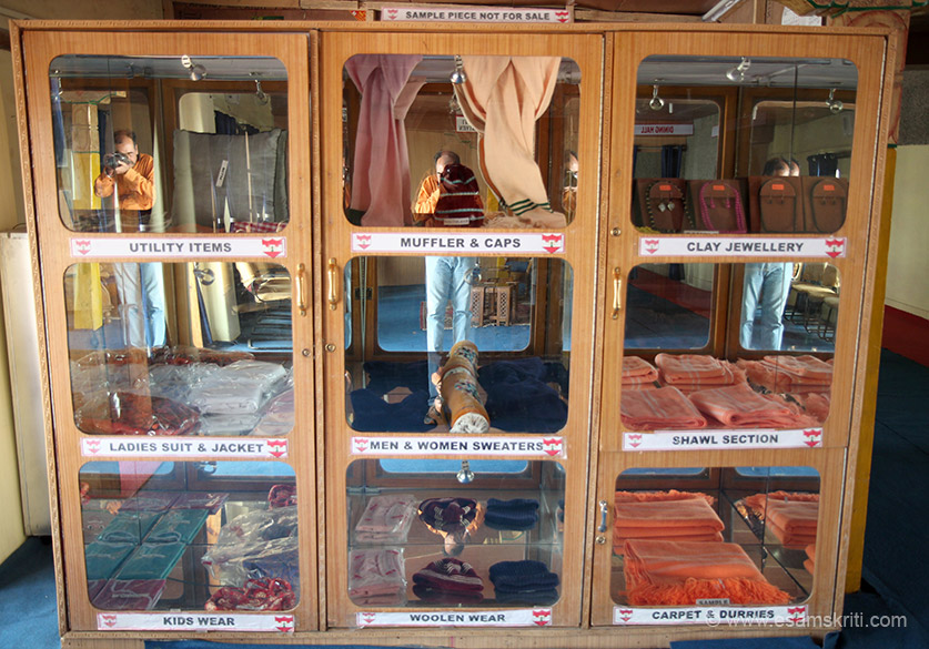 Products made at WEC on display. There are powerlooms too for local women to use. To see pics of CHIRAG ngo in Kumaon who do similar work 