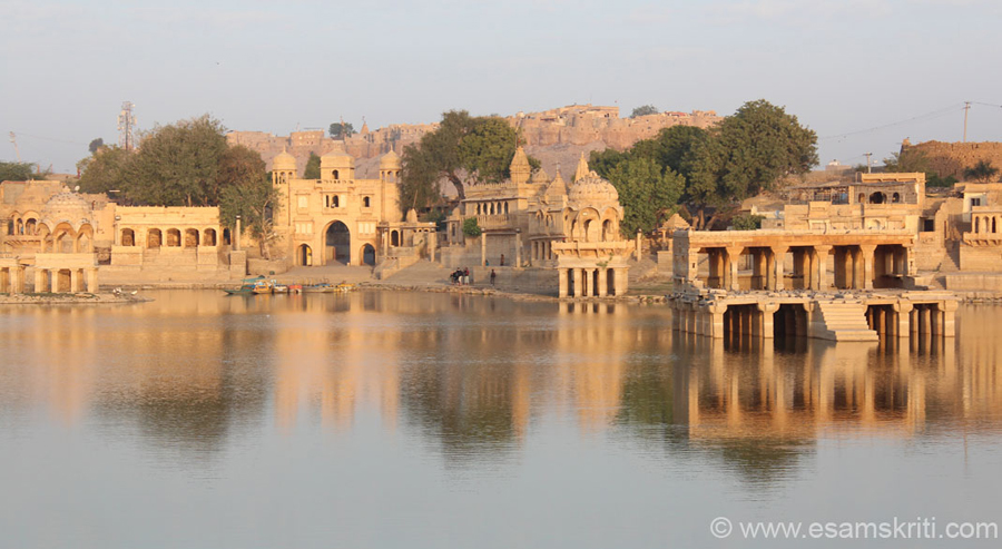 This man made lake was made by Maharaja Gadsi Singh in 1367. It has a huge catchment area, been a source of water supply for centuries, has temples on its banks and in  centre