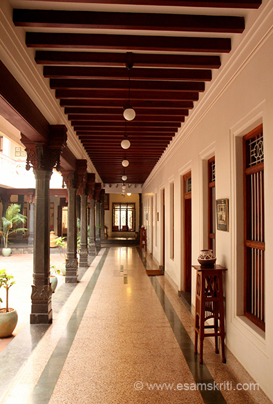 Corridor on one side of the courtyard.