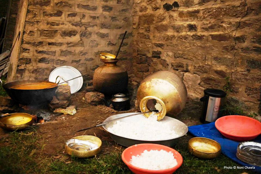 "The dinner served to the pilgrims who bring the ""devta"" consists of rice, dal and ``karhi``. The original name of Kulu was Kulanthapitha, meaning 'end of the habitable world'."
