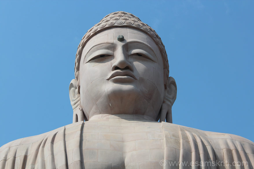 A close up of Buddha face.