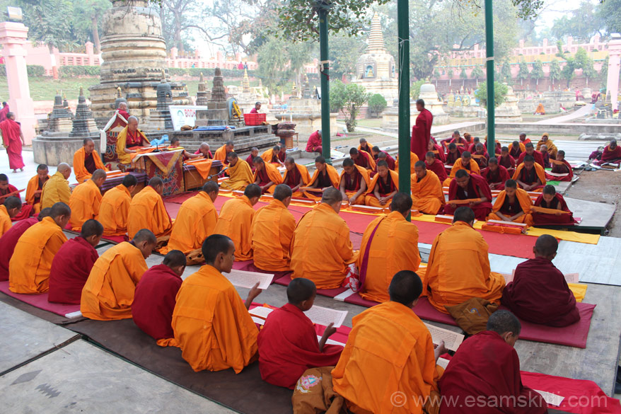 A senior Buddhist monk reading out the Sutras to younger monks. They sat under the Bodhi Tree area ie just outside the temple on western side. You can see stupas behind.