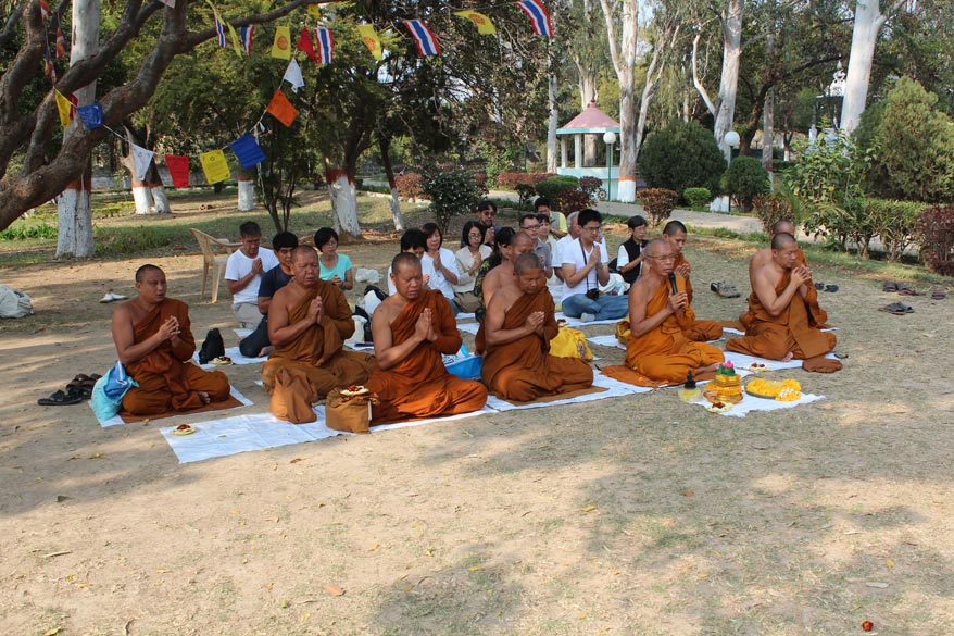 Monks from Burma praying in Venvana. Missed seeing Saptaparni Caves and Mahadev temple.  On the hillcrets around Rajgir, far away one can see about 26 Jain temples.