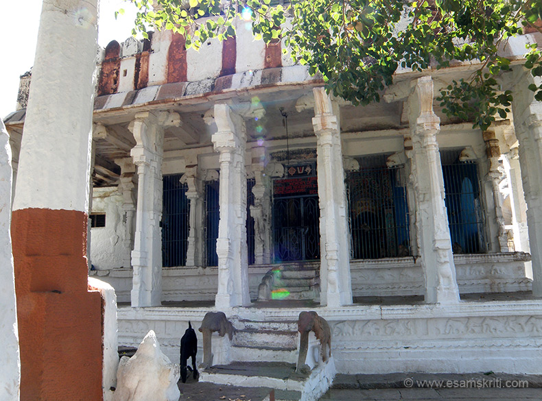 Close to the river is the Kodandarama temple. The temple is unusual in that large images of Rama, Sita and Lakshmana enshrined in the rectangular sanctum have been carved in bold relief on a bolder. According to local tradition this is the place where Lord Rama killed Vali n crowned Sugreeva. The name Kodandarama means crowned Rama in local dialect.