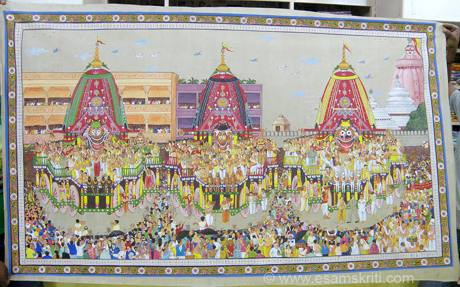 "Puri is associated with the Jagannath Temple. U see painting of the Jagannath Temple Yatra. To see pics of Ratha Yatra i.e. held in June. <a href=""http://www.esamskriti.com/photo-detail/Jagannath-Ratha-Yatra-Puri.aspx"" target=""_blank"">Click here</a>"