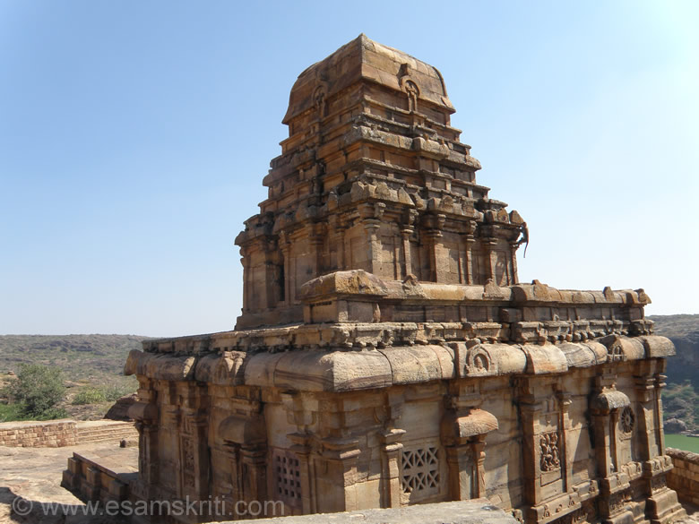 Temple called Upper Shivalaya. It is built on apex part of the hill. The Chalukyas experimented in temple building to evolve the proto-type of the famous Southern Vimana style that you see in the picture.