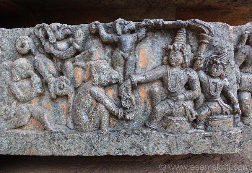 Scene from epic Ramayana. Shri Ram giving abhignan (ring) to Hanuman so when he meet Sita she recognises that he has as a representative of her husband Shri Ram.