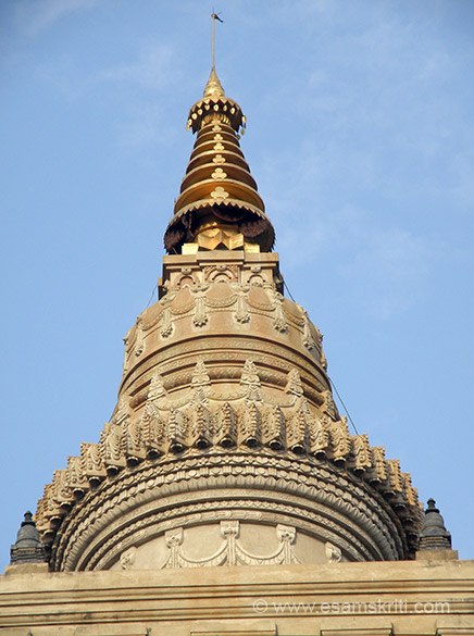 A close up of the bell like stupa. Note the ornamental work. Temple complex is very well maintained and clean.