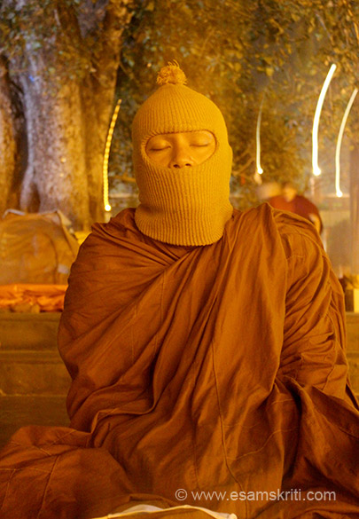 Cold does not stop a monk from meditating. Thanks to the rains early mornings and evenings were pretty cold.