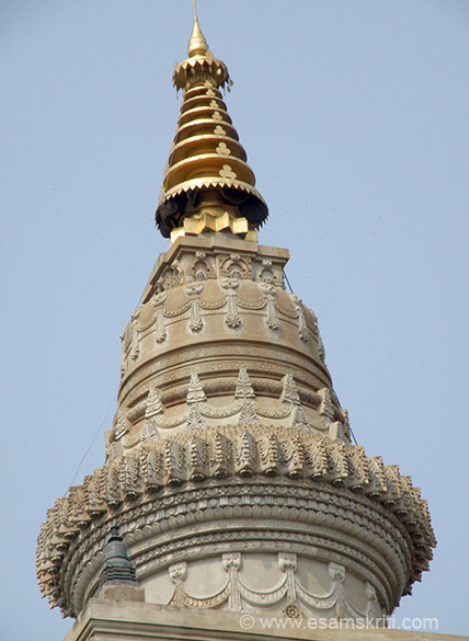 Another close up of the bell like stupa taken from a different angle.