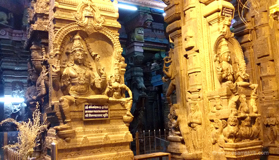 In this mandapa are many wow stone images. Left is Sri Vignap Prasatha Moorthy. Right is Sri Sukasunar. Stone images that you see are in the Kambattadi Mandapam - sculptures from Saivite tradition.