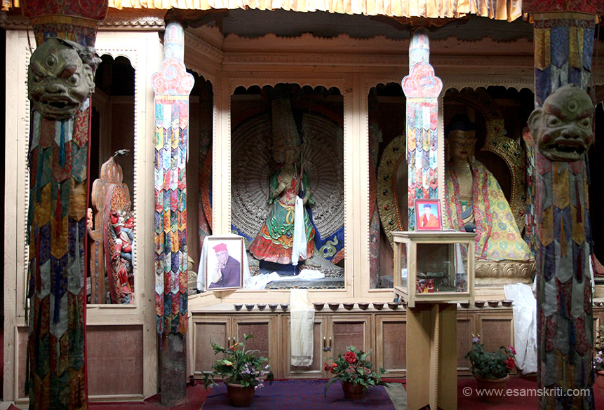 Inside the chapel. 3 images. Right is Shakya Muni Buddha, centre is Sitatraputra statue and left that cannot see is Guru Lhatin.