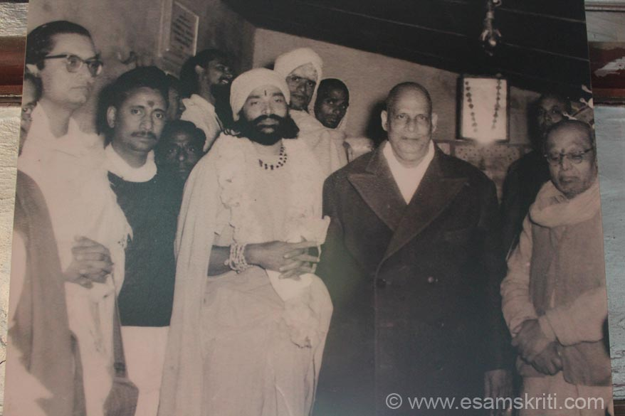 A picture of Narayan Swami with Swami Sivananda of the Divine Life Society of India. The Ashram offers a panoramic view of the mountains on the eastern side. Land for the Ashram 