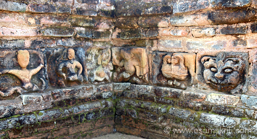 "Outer walls of basement were decorated beautifully with terra-cotta plaques of Buddha, Ganesha, Kartikeya, kirtimukhas (to ward away evil), dancers, musicians, archers, parrots, gandharvas, horse, elephant, tiger,peacock, buffalo, sunflower, lotus, kalas etc. Left to right second is musician and last is kirtimukha. To see kirtimukha at Kiradu Temples Barmer Rajasthan <a href=""http://www.esamskriti.com/theme-detail/Kiradu-Temples-Barmer.aspx"" target=""_blank"">Click here</a>"