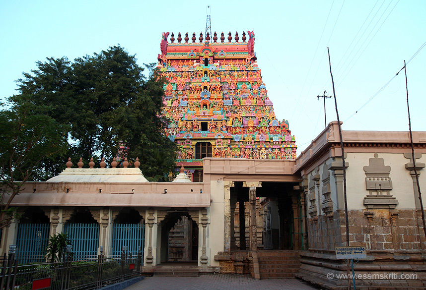 "Rising sun on west facing gopuram. Structure on right of pic is I think a music ka museum. Since we reached about 7 am had not opened. Hope to go there some day. ""Lord Shiva is a swayambumurthi in the temple. Lord Thiagaraja is praised as the Raja-King of Gods."""
