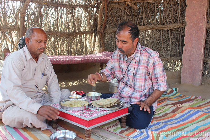 Villagers insisted that I ate lunch. U see me having bajre ki roti with kadhi. The roti came with lots of ghee, not used to so much of it kept it in the plate that you see in 