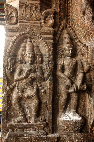 Left image looks like Brahma. Right not sure. All through the January 2016 Tamil Nadu Yatra related spiritually speaking to all the Murugan temples that I visited.
