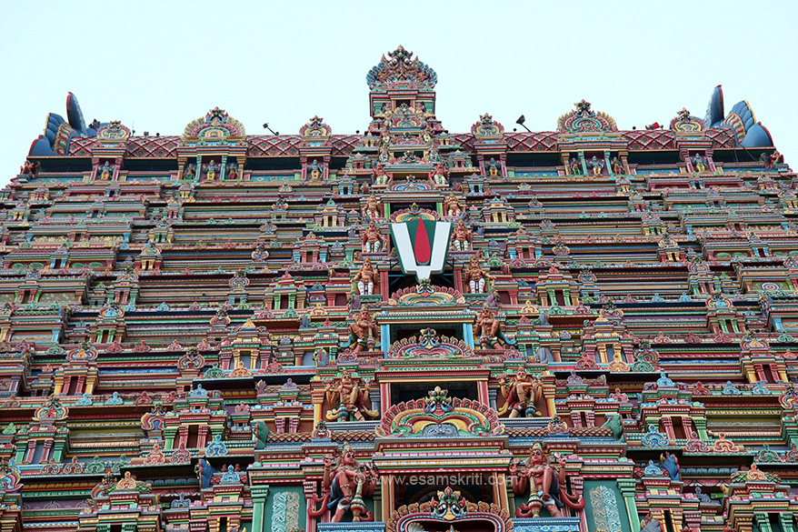 "Close up of top front view. Sign indicates it is a Vishnu Mandir. ""In the sanctum Lord Vishnu is enshrined as Ranganatha-the reclining position of Lord Vishnu over the Shesha Nag (serpent