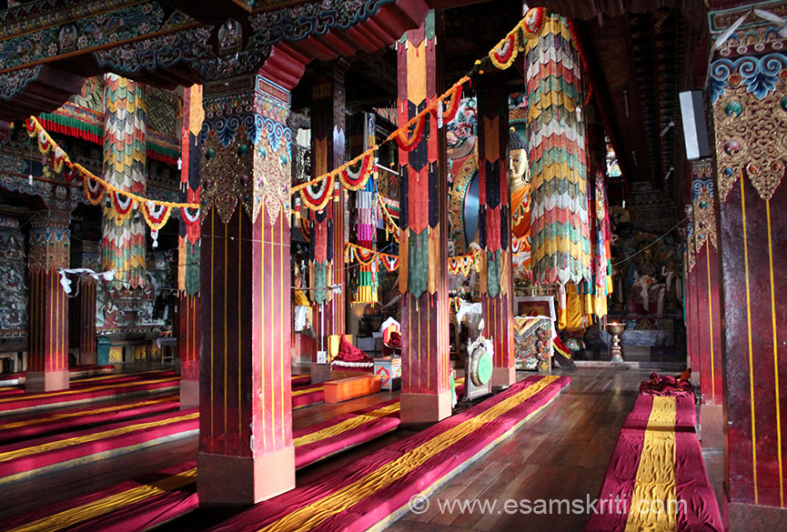 A side view of the prayer hall - early morning sun``s rays. Also visit the Urgyelling Monastery which is considered sacred as it is the birth place of Thangyang Gyastso, the 6th Dalai Lama. It is a very small monastery, took some effort to find the place.