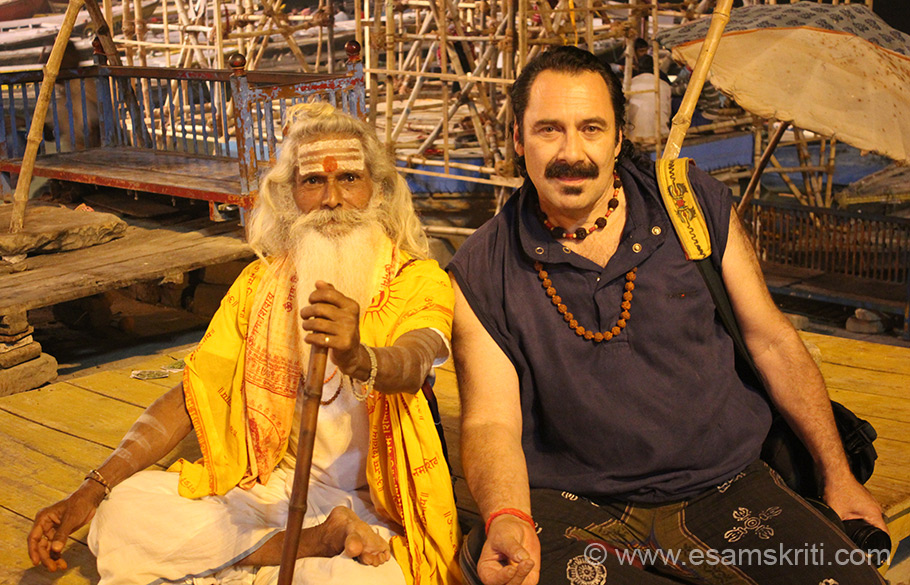 This pic is at Dasashvamedha Ghat post Ganga Aarti that takes place in the evening.