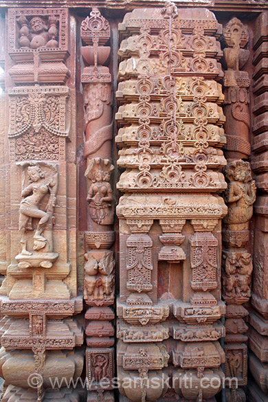 We show you pics of temple clock wise. Right of pic is temple, below ie has space for image ie not there. ``The corner rathas are relieved with female figures, remarkable for their expressive faces, with hair styles and jewellery shown in exquisite detail.``