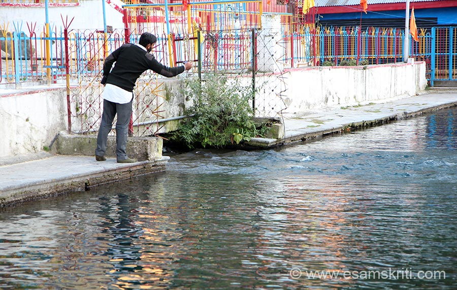 This is the point where the water flows in from Shri Amar Nath ji. We spent nearly an hour, the water kept on flowing.