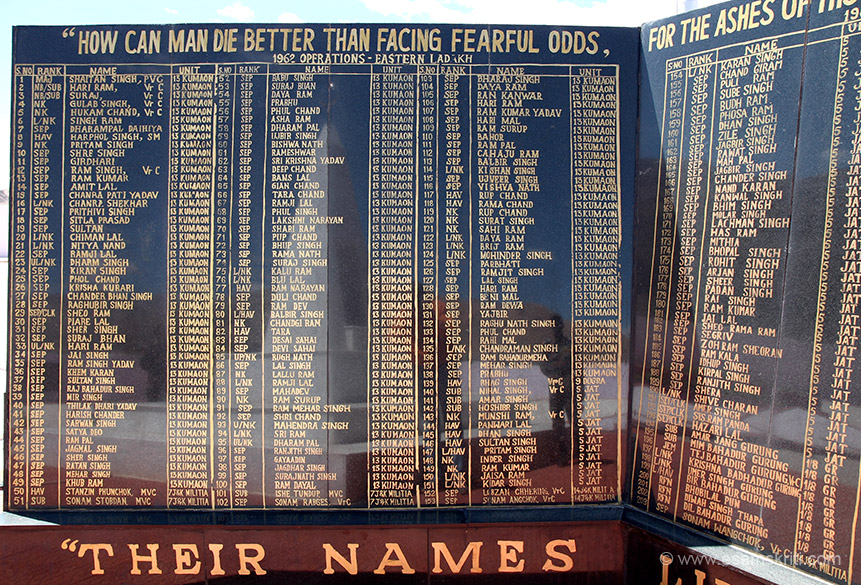 "Names of some of the brave sons of India who made the supreme sacrifice during 1962 war. To see pics of Army Museum at Leh  <a href=""http://www.esamskriti.com/photo-detail/Hall-of-Fame-Leh.aspx"" target=""_blank"">Click here</a>"