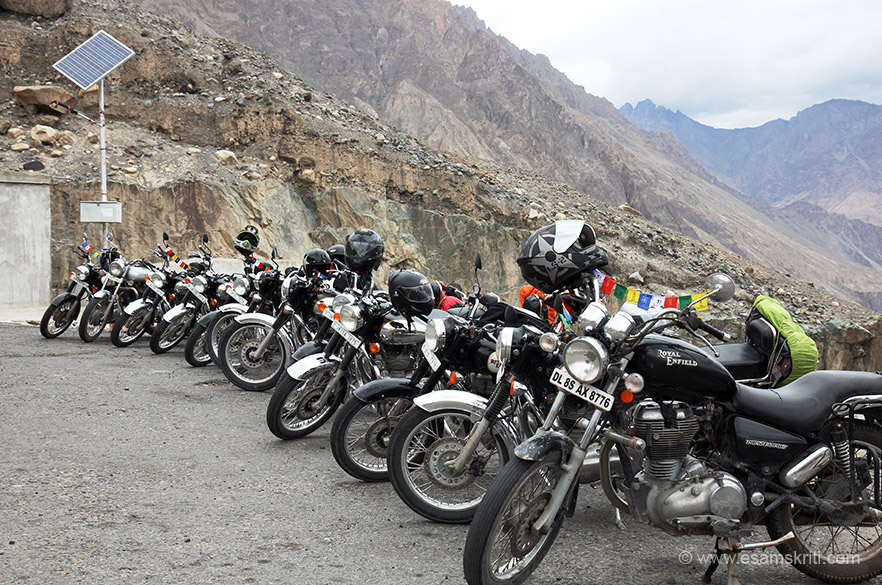 There are bikers and bikers in Ladakh. Parking area of Diskit gompa. From here it is a short climb to the gompa. Royal Enfield bikes all the way.