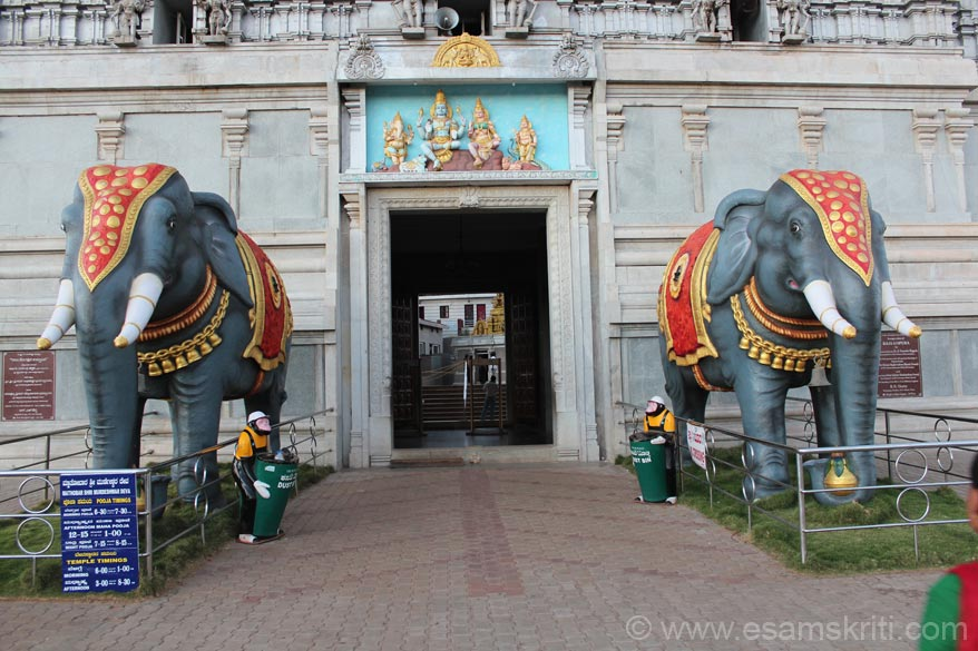 Entrance to the Raja Gopura. U walk thru the gopura to enter Murdeshwar temple. Elephants are worshipped in every temple that I visited in Karnataka. However, in the state of
