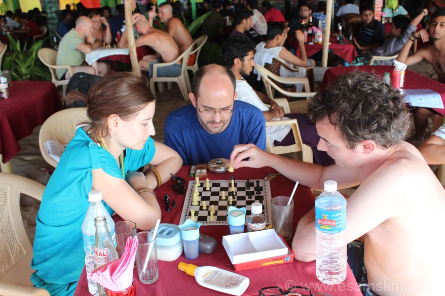 A group of french friends playing chess in Sunset Café. They would spend nearly half a day playing chess. In between play frisby. In short just chill. Gokarna International is a good hotel on the 