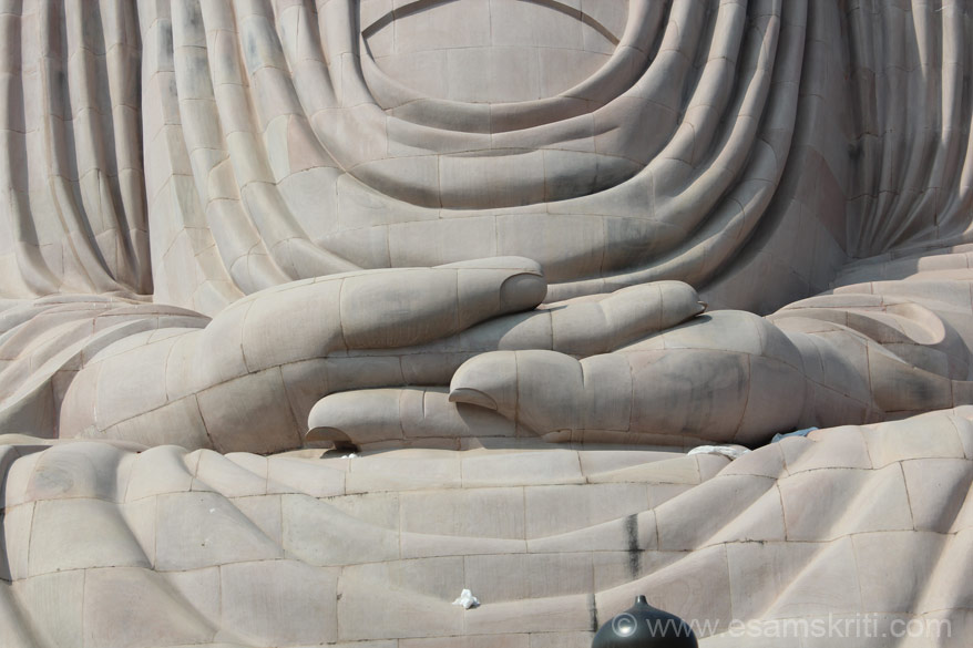Buddha hands in Dhyan Mudra.