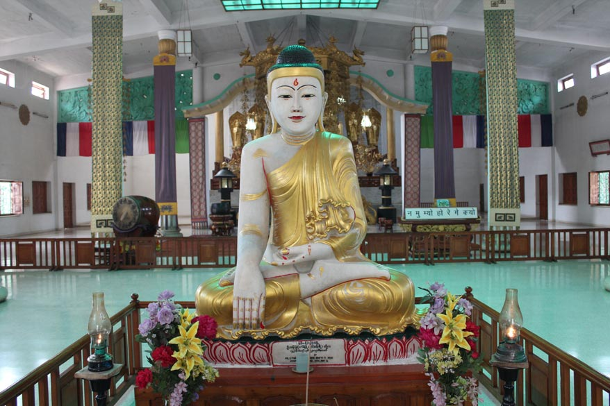 Come outside Venuvana a few minutes drive is the Japanese Temple. Buddha image inside temple.