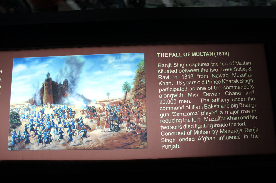 Ranjit Singh captured the Fort of Multan in 1919. He made unsuccessful attempts in 1802, 1807, 1810. Five touch-screen computers alongside the main hall of the Panorama have been installed to help visitors to 