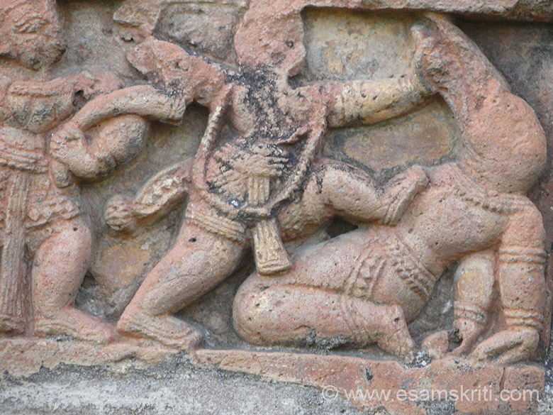 Shri Krishna killing Bakasura.